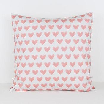 16x16 Watercolor Hearts in Coral Cotton Pillow Cover I Etsy
