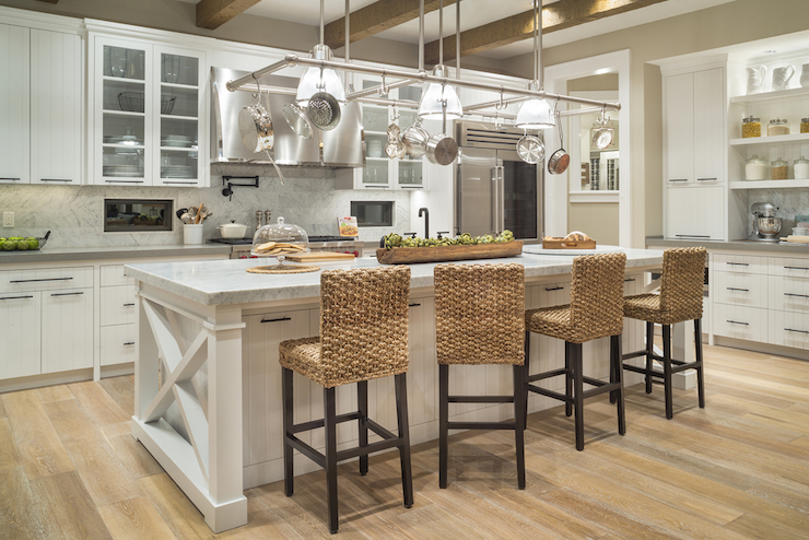 Seagrass Counter Stools Transitional Kitchen