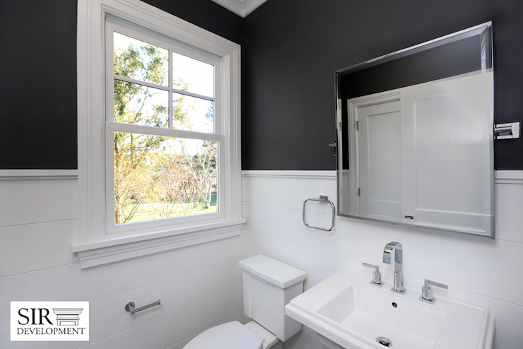 White And Black Powder Rooms Transitional Bathroom