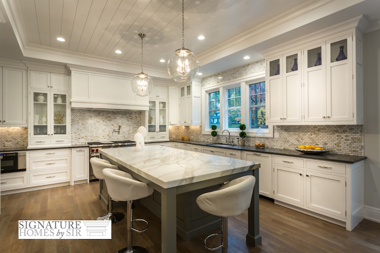 Kitchen with tray ceiling transitional kitchen sir Shiplap tray ceiling