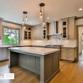 Haverhill polished nickel island light transitional for Brushed sage kitchen cabinets