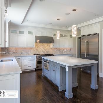White Kitchen with Gray Island, Transitional, Kitchen, Sir Development