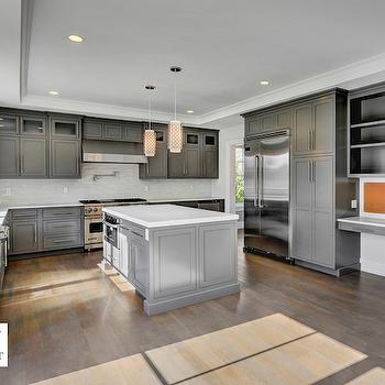 White shaker cabinets with oil rubbed bronze pulls for Charcoal gray kitchen cabinets