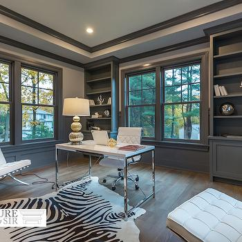 Gray Built In Bookcase, Transitional, Den/library/office, Sir Development