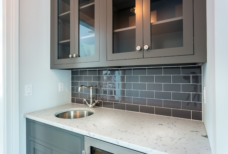 Wet bar sink transitional kitchen thornton designs for Stainless steel countertop with built in sink