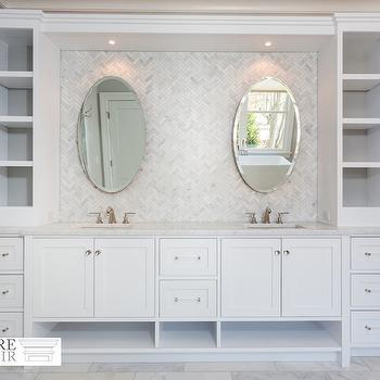 Bathroom with Marble Herringbone Tiles, Transitional, Bathroom, Sir Development