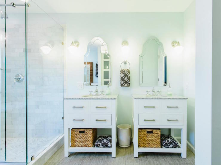 White Washstands With Glass Pulls Transitional Bathroom