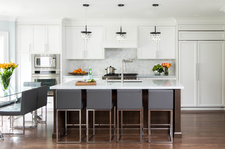 View Full Size. Amazing Kitchen Features Three Robert Abbey Bling  Chandeliers ...