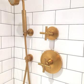 Gold Shower Head Transitional Bathroom Sherwin