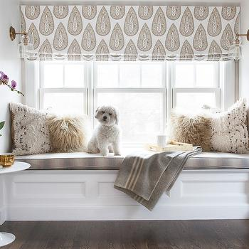 Window Seat in Bedroom, Transitional, Bedroom, Sherwin Williams Incredible White, Erin Gates Design