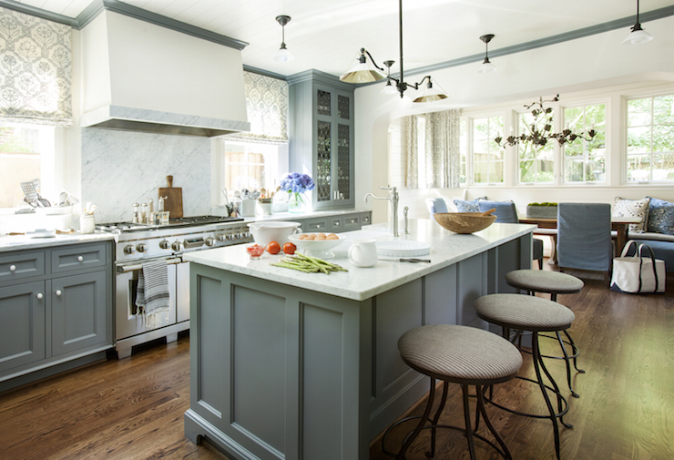 Blue Gray Cabinets Transitional Kitchen Westbrook Interiors