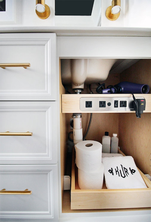 Kohler Adjustable Shelf with Electrical Outlets - Transitional - Bathroom - The Hunted Interior