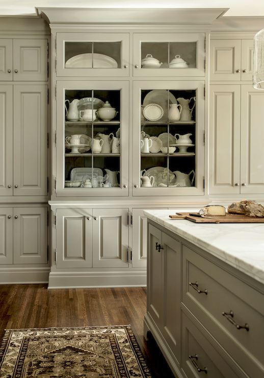 Floor To Ceiling Gray Cabinets Flanking A Built In Gray China Cabinet