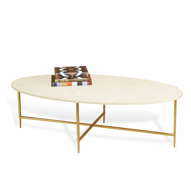 Montague oval glass gold coffee table for Cream glass coffee table