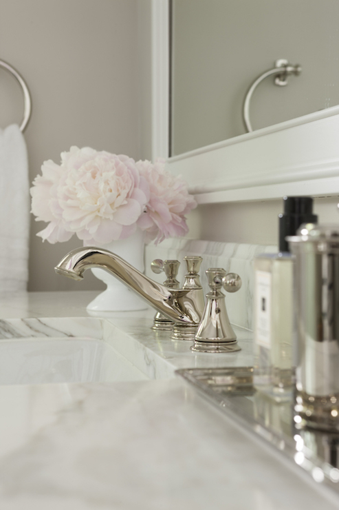 traditional bathroom boasts light gray walls framing a vanity topped with white marble framing a white porcelain sink alongside a silver vanity tray paired - Bathroom Accessories Vanity Tray