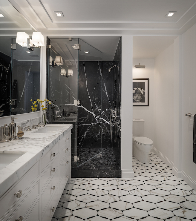Marvelous Contemporary Master Bathroom Features A Single Wall Vanity Divided Into His  And Her Sections Boasting Inset Drawers Topped With Thick White And Gray  Marble ...