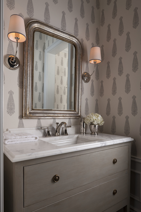 Gray bathroom cabinets transitional bathroom para for Gray bathroom wallpaper