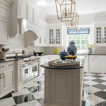 Black and White Kitchen Floor, Transitional, Kitchen, Les Ensembliers