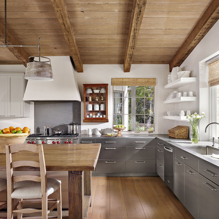 Kitchen Ideas No Wall Cabinets kitchen island dining table - cottage - kitchen - enjoy company