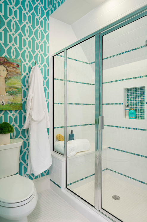 Shower with white and turquoise tiles design ideas - Turquoise bathroom floor tiles ...