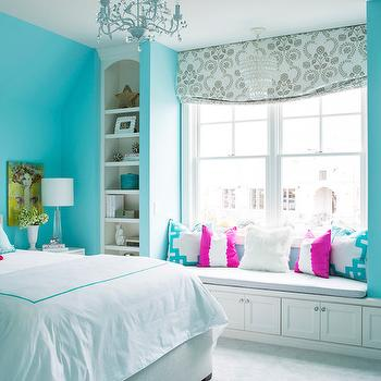 Window Seat Built Ins, Contemporary, Girl's Room, Sherwin Williams Spa, Martha O'Hara Interiors