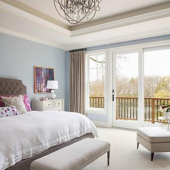 Brown Tufted Headboard, Contemporary, Bedroom, Benjamin Moore Silver Mist, Martha O'Hara Interiors