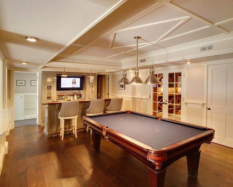 Basement with wet bar transitional basement for Small pool table room ideas