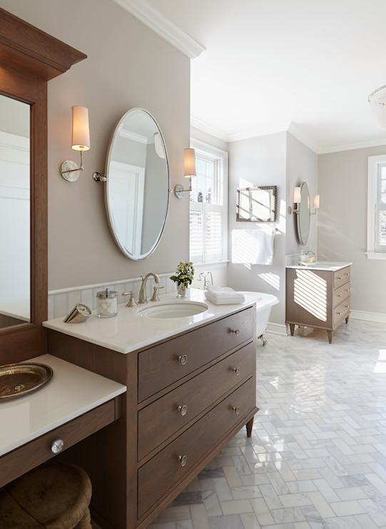 Kids Bathroom With Separate Vanities Design Ideas