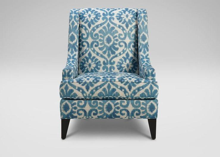 view full size. Printed Parker Peacock Blue Armchair