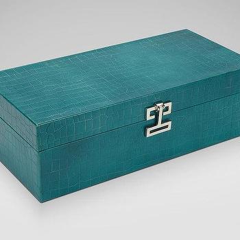 Long Turquoise Croc Box I Ethan Allen