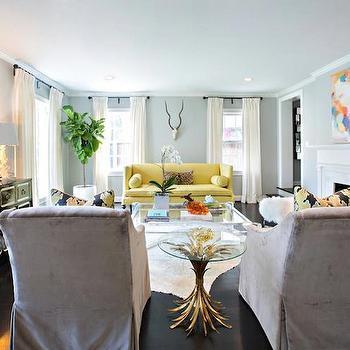 Yellow Sofa, Transitional, Living Room, Sally Wheat Interiors
