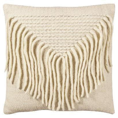nate berkus ivory woven fringe pillow targetcom - Decorative Pillows Target