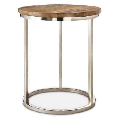 Charming Threshold Silver Metal Accent Brown Table With Wood Top