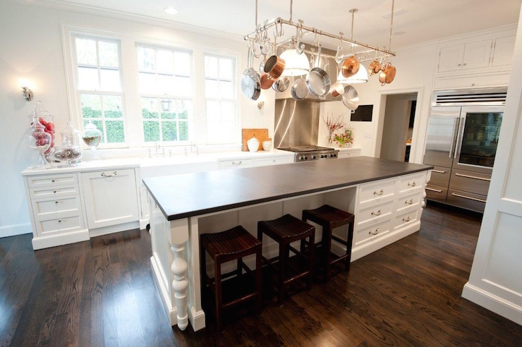 Island Pot Rack Transitional Kitchen Munger Interiors