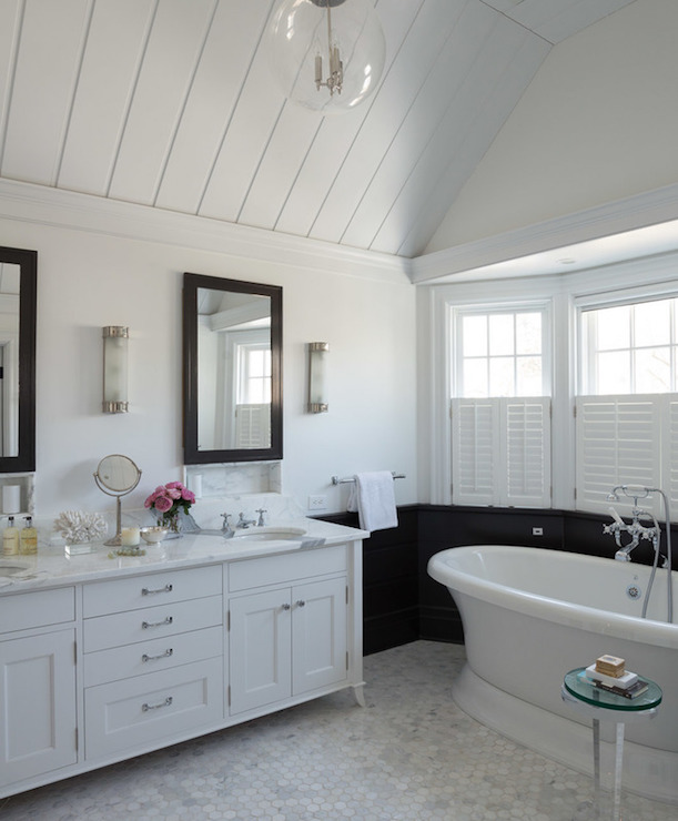 White Vanity With Black Mirror Transitional Bathroom