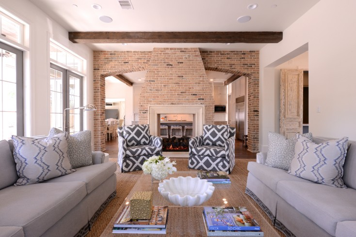 Two Sided Fireplace Transitional Living Room Munger