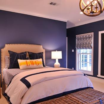 Navy Gourd Lamps Transitional Bedroom Highgate House