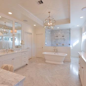 Bathtub in Front of Shower, Transitional, Bathroom, Munger Interiors