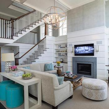 Fireplace with Bookcases, Transitional, Living Room, Alisberg Parker Architects