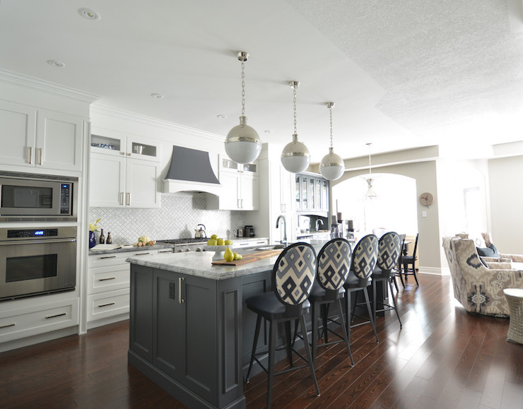 White Kitchen With Gray Island Transitional Kitchen