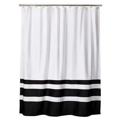 Threshold Color Block Black And White Shower Curtain
