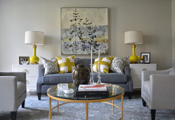 Yellow and blue rooms transitional living room meredith heron design Gray blue yellow living room