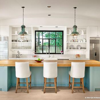 Turquoise Kitchen Island, Cottage, Kitchen, Dillon Kyle Architecture