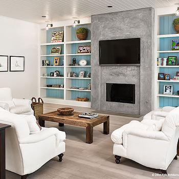 Built Ins with Painted Backs, Cottage, Living Room, Dillon Kyle Architecture