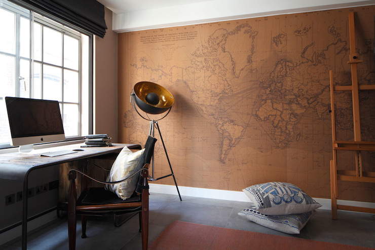 Toys r us world map wall mural traditional boys room robyn stunning home office boasts accent wall featuring surface view wallpaper mural illuminated by a photographers style tripod floor lamp alongside a pair of gumiabroncs Choice Image