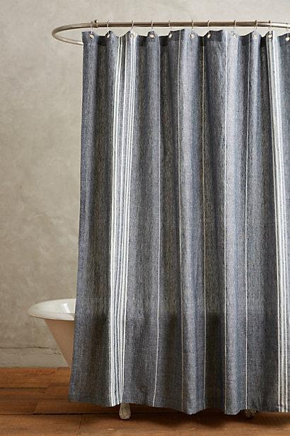 Striped Grey Linen Shower Curtain