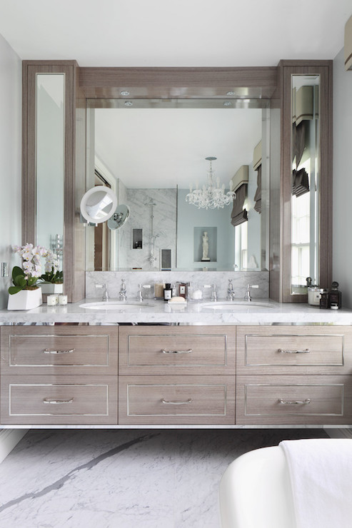 His and Hers Sinks Flanked by Cabinets Transitional Bathroom