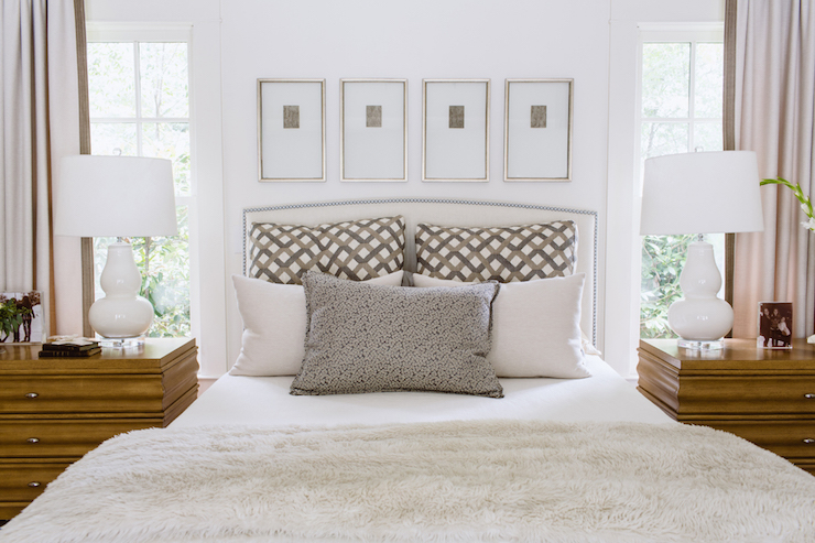 Art over headboard transitional bedroom dana wolter - Over the bed art ...