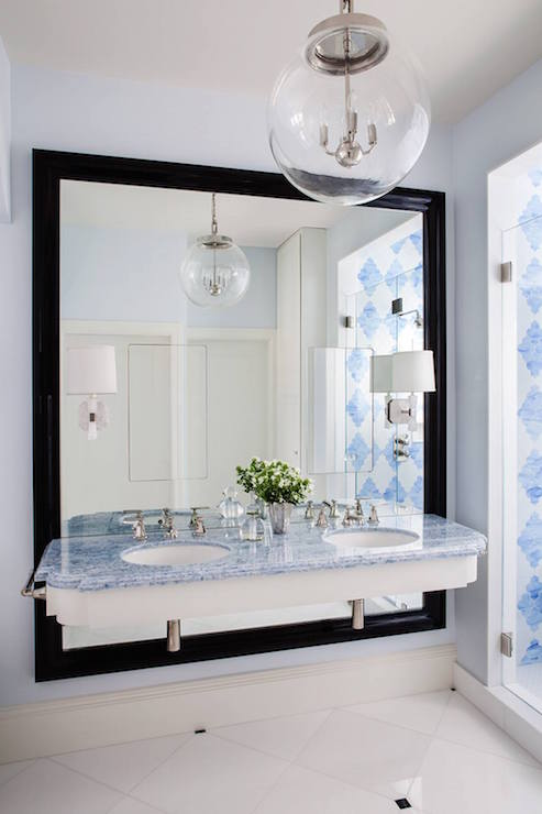 White Lacquered Bath Vanity With Blue Mosaic Moroccan