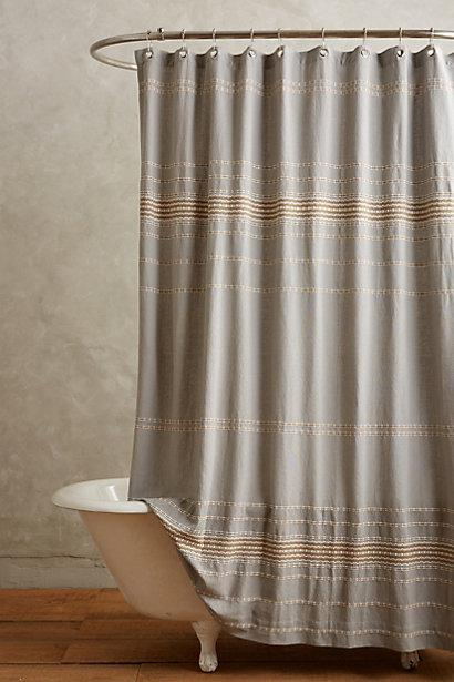 Scallop Striped Grey Shower Curtain